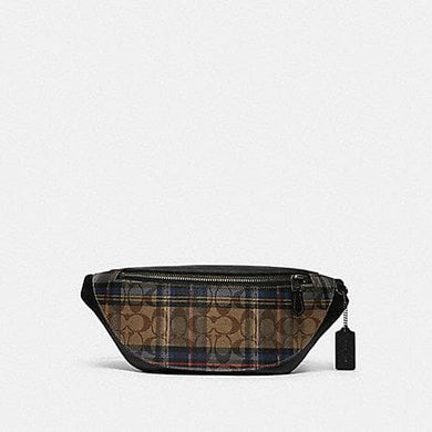 COACH WARREN BELT BAG IN SIGNATURE CANVAS WITH PLAID PRINT F83001 (QB/KHAKI MULTI)