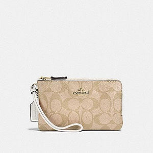 COACH WALLET DOUBLE CORNER ZIP IN SIGNATURE COATED CANVAS F87591 IN LIGHT KHAKI CHALK