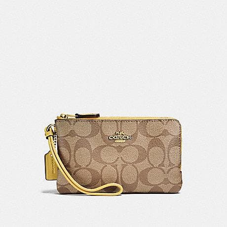 Coach Double Corner Zip Wristlet in Signature Canvas F87591 (Khaki/Sunflower)