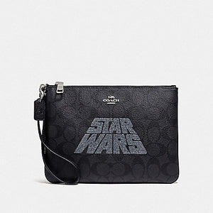 Star Wars X Coach Gallery Pouch in Signature Canvas with Motif F88488 (Black Multi)