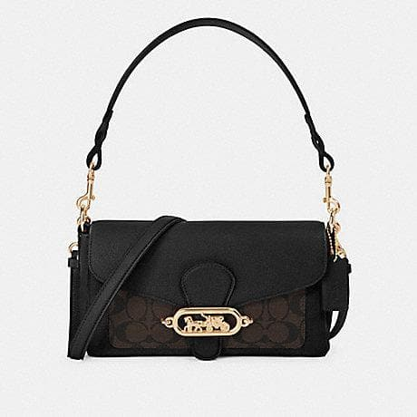 Coach Small Jade Shoulder Bag With Signature Canvas Detail F90782 (IM/Brown Black)