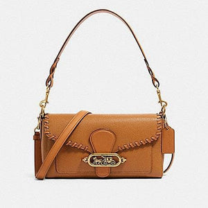 Coach Small Jade Shoulder Bag F91025 With Whipstitch In Light Saddle