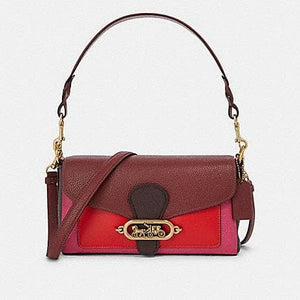 Coach Small Jade Shoulder Bag F91070 In Wine Oxblood Multi