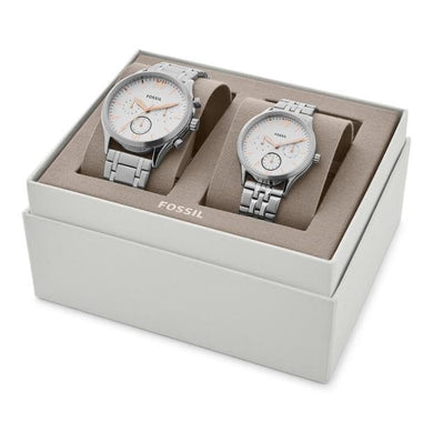 Fossil His and Her Fenmore Midsize Multifunction Stainless Steel Watch Gift Set BQ2468SET