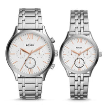 Load image into Gallery viewer, Fossil His and Her Fenmore Midsize Multifunction Stainless Steel Watch Gift Set BQ2468SET