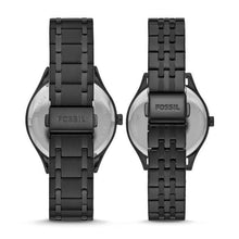 Load image into Gallery viewer, Fossil His and Her Wylie Three-Hand Black Stainless Steel Watch Box Set BQ2471SET