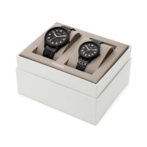 Fossil His and Her Wylie Three-Hand Black Stainless Steel Watch Box Set BQ2471SET