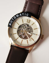 Load image into Gallery viewer, Fossil Automatic Skeleton BQ2382 Gold Tone Brown Leather Strap Watch