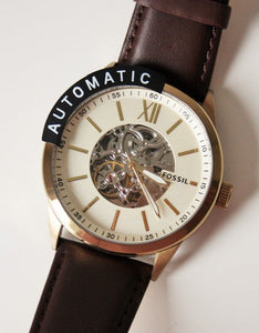 Fossil Automatic Skeleton BQ2382 Gold Tone Brown Leather Strap Watch