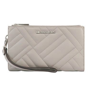 Michael Kors Peyton Double Zip Quilted Wristlet 35S0SP6W3L In Pearl Grey