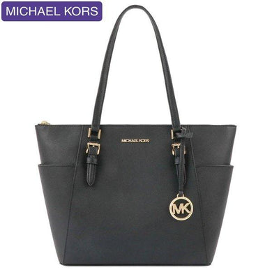 Michael Kors Charlotte Large Top Zip Tote Bag 35T0GCFT7L In Black
