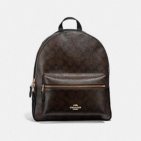 Coach Medium Charlie Backpack in Signature Canvas F32200 (Brown/Black/Light Gold)