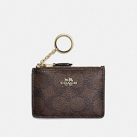 Coach Mini Skinny ID Case in Signature Coated Canvas F16107 (Brown/Black/Imitation Gold)