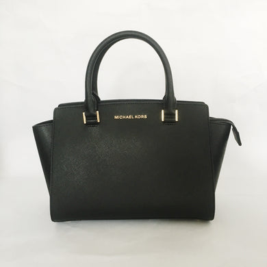 Michael Kors Selma Medium Top Zip Satchel 35H8GLMS2L Leather Black Bag