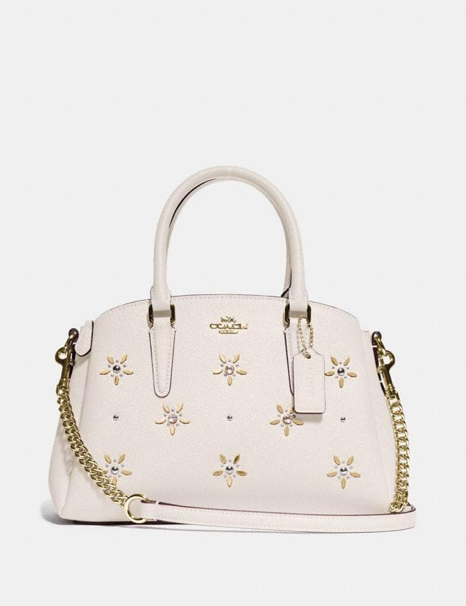 COACH MINI SAGE CARRYALL WITH ALLOVER STUDS F72833 (CHALK/GOLD)