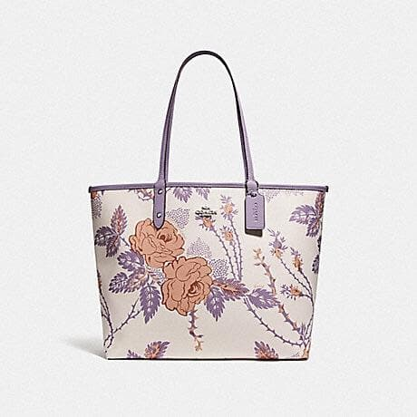 Coach Reversible City Tote with Thorn Roses Print F78281 (Chalk Purple Multi/Lilac/Silver)