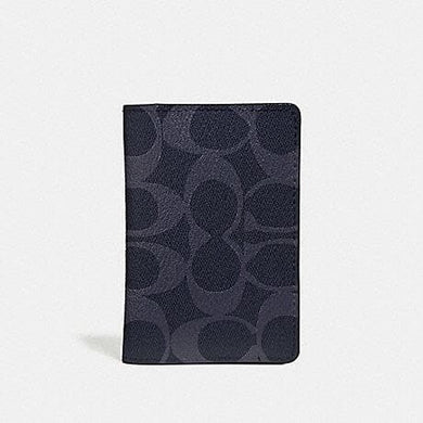 COACH CARD WALLET IN SIGNATURE CANVAS F66549 (DENIM/BLACK ANTIQUE NICKEL)