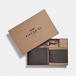 COACH BOXED 3-IN-1 WALLET GIFT SET WITH HERRINGBONE PRINT F73117 (BLACK/MULTI)