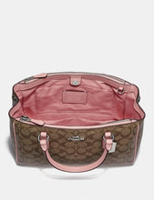 Load image into Gallery viewer, COACH SURREY CARRYALL IN SIGNATURE CANVAS F67026 (BROWN/BLACK/IMITATION GOLD)