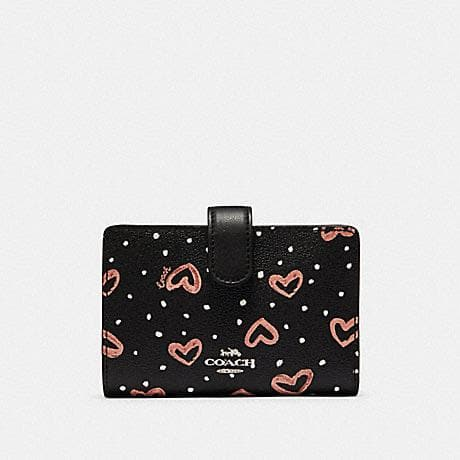 COACH MEDIUM CORNER ZIP WALLET WITH CRAYON HEARTS PRINT 91599 (SV/BLACK PINK MULTI)