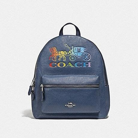 COACH JES BACKPACK WITH RAINBOW HORSE AND CARRIAGE F76772 (DENIM/MULTI/SILVER)