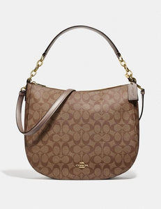 COACH ELLE HOBO IN SIGNATURE CANVAS F73285 (GOLD/KHAKI/PLATINUM)