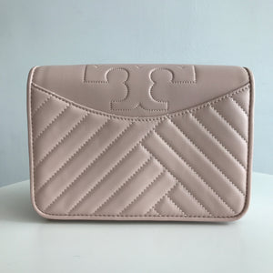 Tory Burch Alexa Pink Shell Leather Cross Body Bag