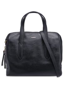 Fossil Sydney Satchel In Black Leather