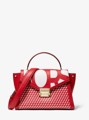 Michael Kors Whitney Medium Graphic Logo Satchel (Red/White)