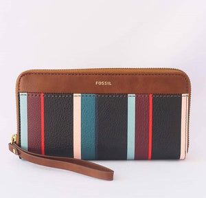 Fossil Jori Zip Clutch Navy (Stripe Multi)