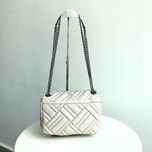 Load image into Gallery viewer, Michael Kors Medium Peyton Leather Shoulder Flap Bag (Cement)
