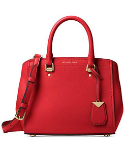Michael Kors Benning Medium Messenger Bright Leather Bag (Red)