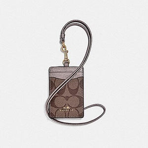 Coach ID Lanyard in Signature Canvas F63274 (Imitation Gold/Khaki/Platinum)