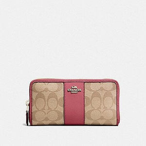 COACH WOMEN WALLET ACCORDIAN ZIP SIGNATURE F54630 (LIGHT KHAKI/ROUGE/GOLD)