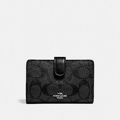 COACH WALLET MEDIUM CORNER ZIP F23553 SIGNATURE PVC (BLACK SMOKE)