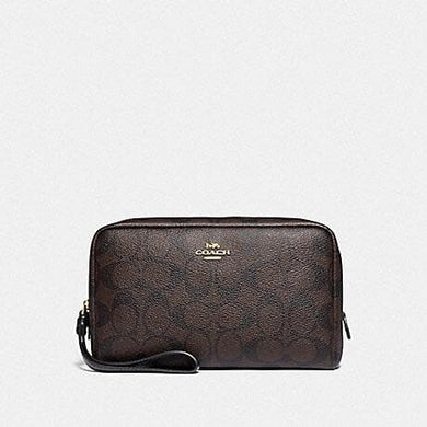 Coach Signature Boxy Cosmetic Pouch Bag F77997 In Brown Black