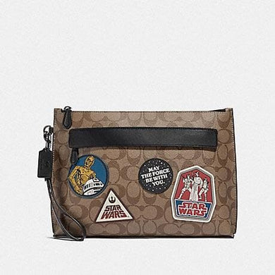 COACH STAR WARS X COACH CARRYALL POUCH IN SIGNATURE CANVAS WITH PATCHES F88114 (QB/TAN)