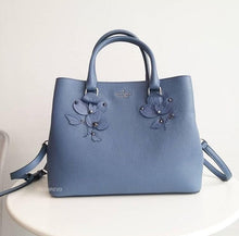 Load image into Gallery viewer, KATE SPADE EVANGELIE LARCHMONT AVENUE FLORAL APPLIQUE CONSELLBLU LEATHER SATCHEL BAG