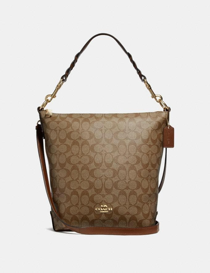 Coach Signature Abby Duffle Shoulder Bag F31477 In Khaki Saddle2