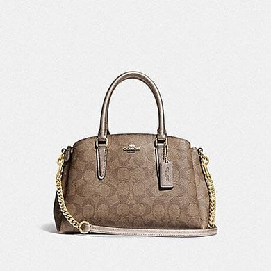 COACH MINI SAGE CARRYALL IN SIGNATURE CANVAS F73291 (GOLD/KHAKI/PLATINUM)