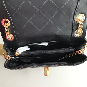 MICHAEL KORS QUILTED PEYTON MEDIUM SHOULDER FLAP LEATHER BLACK