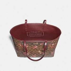 Coach Reversible City Tote in Signature Canvas with Praire Daisy Cluster Print F78279 (Khaki Coral Multi/Imitation Gold)