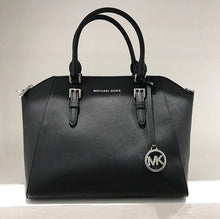 Load image into Gallery viewer, Michael Kors Large Ciara Top Zip Satchel 35H5SC6S3L In Black