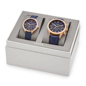 (PRE-ORDER) HIS CHRONOGRAPH AND HER MULTIFUNCTION NAVY LEATHER WATCH GIFT SET BQ2186SET
