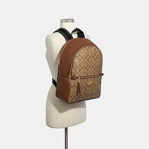 Coach Addison Backpack in Signature Canvas 91018 (Imitation Gold/Khaki Saddle)