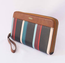 Load image into Gallery viewer, Fossil Jori Zip Clutch Navy (Stripe Multi)