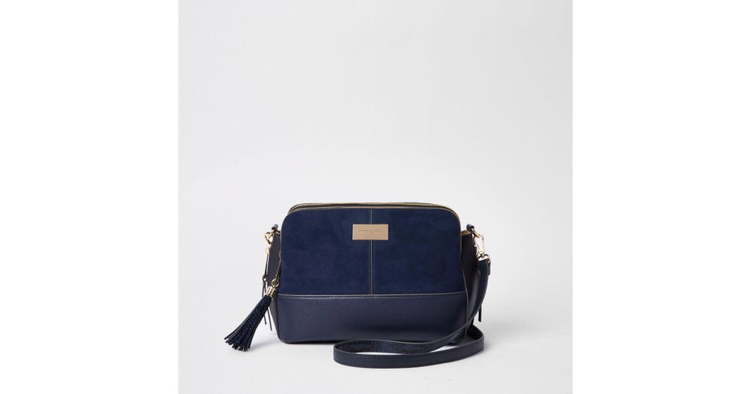 River Island Navy triple compartment cross body bag