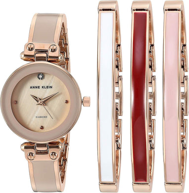 (PRE-ORDER) Anne Klein Women's Genuine Diamond Dial Rose Gold-Tone and Blush Pink Watch with Bangle Set AK-1980BHST