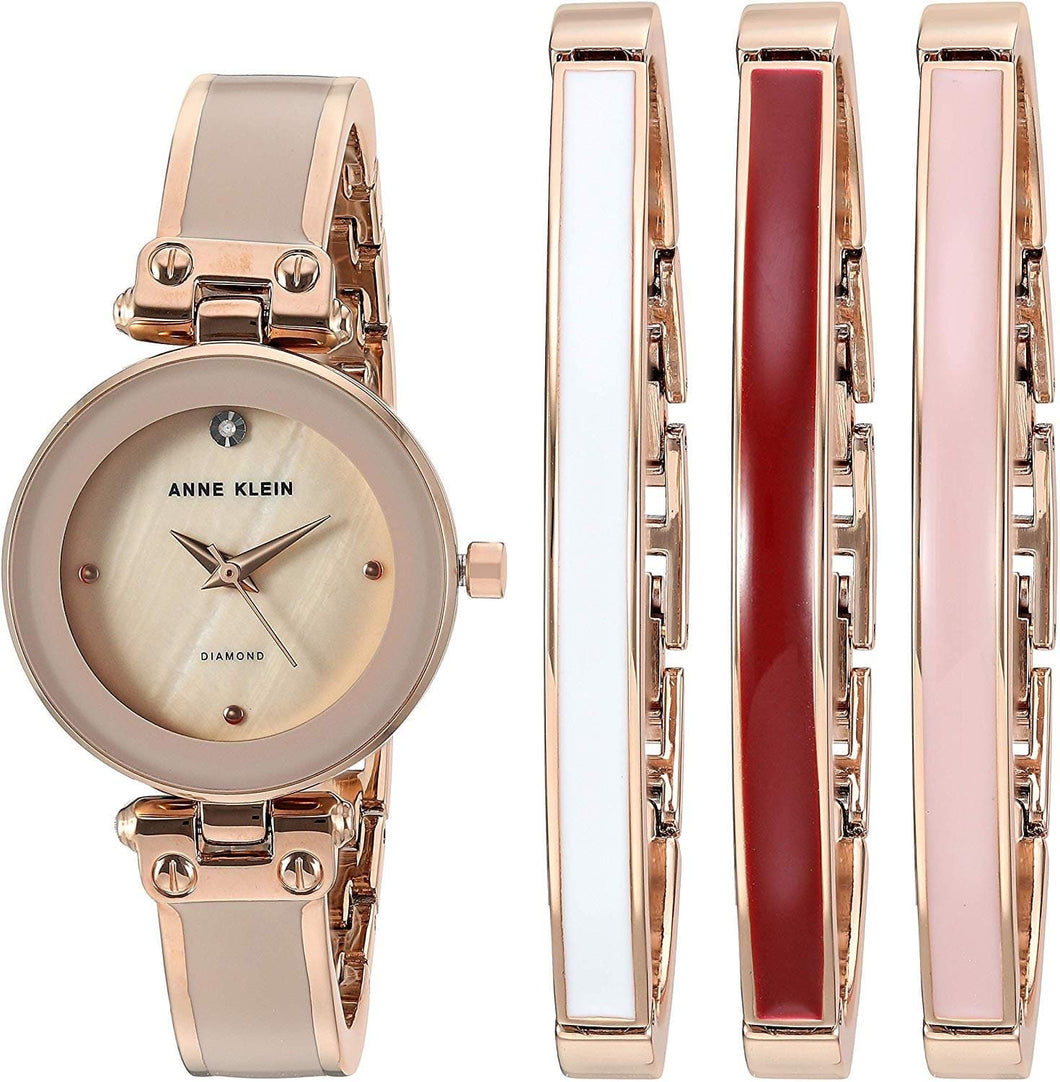 (PREORDER) Anne Klein Women's Genuine Diamond Dial Rose Gold-Tone and Blush Pink Watch with Bangle Set AK-1980BHST