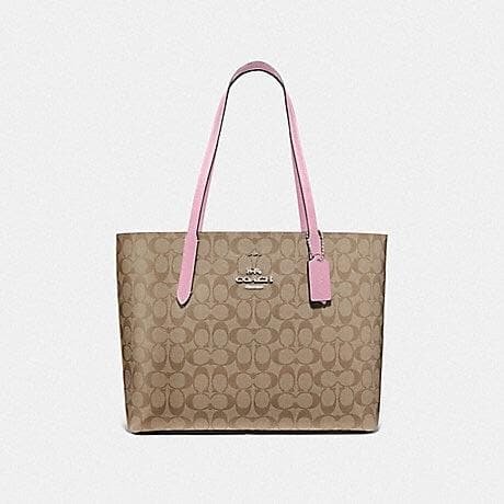 COACH AVENUE TOTE IN SIGNATURE CANVAS F67108 (TULIP/KHAKI/SILVER)